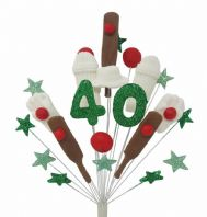 Cricket 40th birthday cake topper decoration - free postage